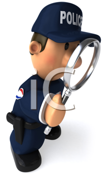 Royalty Free Clipart Image of a Police Officer With a Magnifying Glass