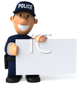 Royalty Free Clipart Image of a Police Officer Holding a Blank Sign