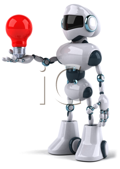 Royalty Free Clipart Image of a Robot Looking at Red Lightbulb He's Holding