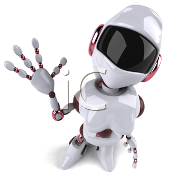 Royalty Free Clipart Image of a Waving Robot Woman