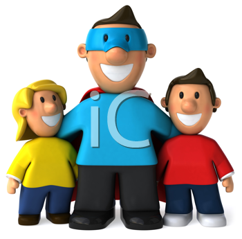 Royalty Free Clipart Image of a Superhero Dad and His Children