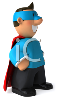 Royalty Free Clipart Image of a Superhero Every Man