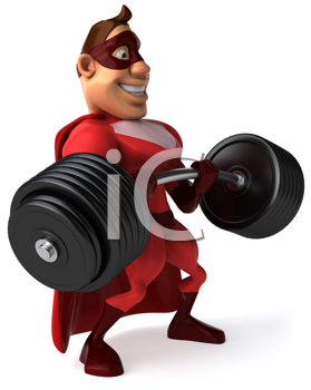 Royalty Free Clipart Image of a Superhero Lifting Weights