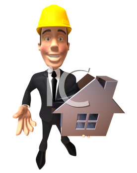 Royalty Free 3d Clipart Image of a Businessman Wearing a Hardhat and Holding a House Model