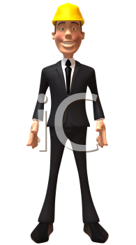 Royalty Free 3d Clipart Image of a Businessman Wearing a Hardhat