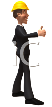 Royalty Free 3d Clipart Image of a Side View of a Businessman Wearing a Hardhat and Giving a Thumbs Up Sign
