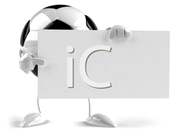 Royalty Free 3d Clipart Image of a Soccer Ball Character Holding and Pointing at a Sign