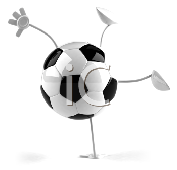 Royalty Free 3d Clipart Image of a Soccer Ball Character Doing a Handstand