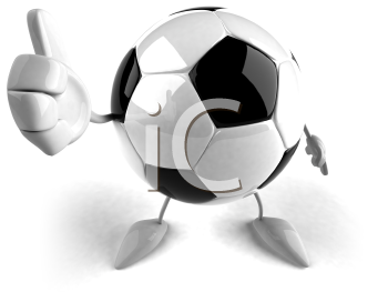 Royalty Free 3d Clipart Image of a Soccer Ball Character Giving a Thumbs Up Sign