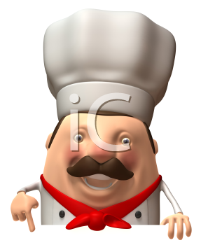 Royalty Free 3d Clipart Image of a Chef Pointing