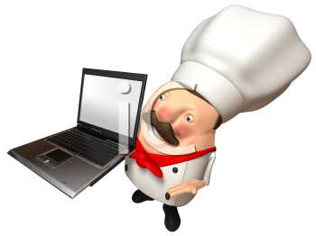 Royalty Free 3d Clipart Image of a Chef Holding a Laptop Computer