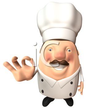Royalty Free 3d Clipart Image of a Chef Giving an Okay Sign
