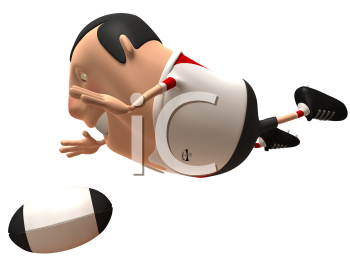 Royalty Free 3d Clipart Image of Rugby Player Leaping for the Ball