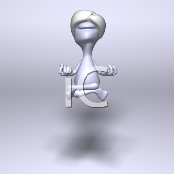 Royalty Free 3d Clipart Image of a Floating Meditating Character