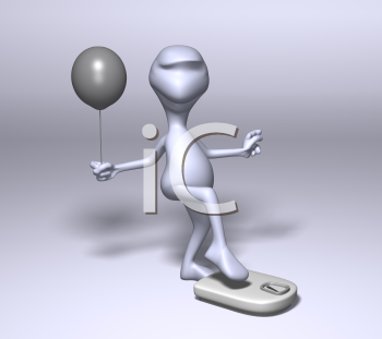Royalty Free 3d Clipart Image of a Character About to Step on a Weight Scale Holding a Balloon
