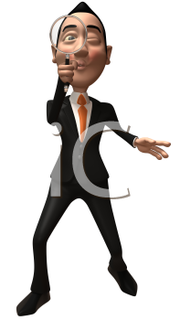 Royalty Free 3d Clipart Image of an Asian Businessman Looking Through a Magnifying Glass