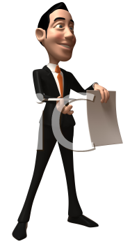 Royalty Free 3d Clipart Image of an Asian Businessman Holding a Paper Document and Pen