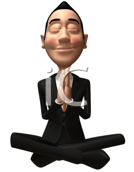 Royalty Free 3d Clipart Image of an Asian Businessman Meditating