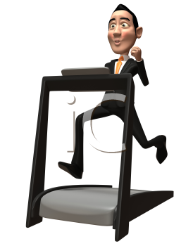 Royalty Free 3d Clipart Image of an Asian Businessman Running on a Treadmill