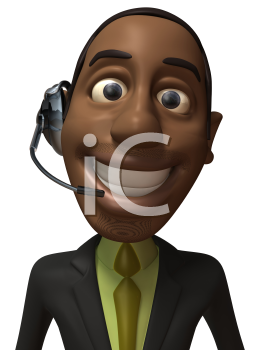 Royalty Free 3d Clipart Image of an African American Businessman Wearing a Telephone Headset