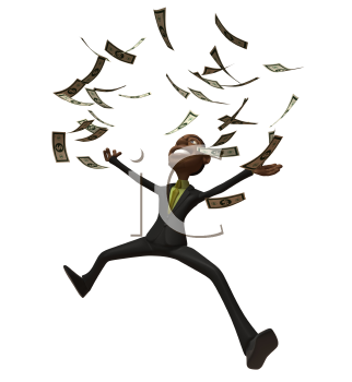 Royalty Free 3d Clipart Image of an African American Businessman Jumping With Money Raining Down Around Him