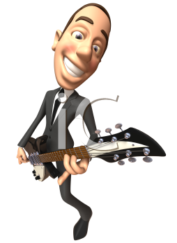 Royalty Free 3d Clipart Image of a Man Wearing a Suit and Playing a Guitar