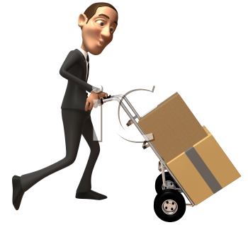 Royalty Free 3d Clipart Image of a Businessman Pushing a Dolly Cart with Cartons on it.