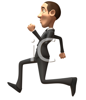 Royalty Free 3d Clipart Image of a Businessman Running