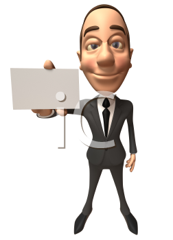 Royalty Free 3d Clipart Image of a Businessman Holding a Business Card