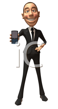 Royalty Free 3d Clipart Image of a Businessman Holding a Cell Phone