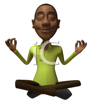 Royalty Free 3d Clipart Image of an African American Man Meditating