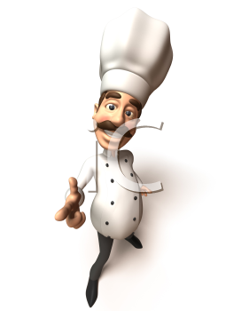 Royalty Free 3d Clipart Image of a Chef Pointing His Finger
