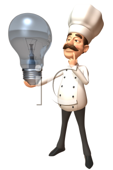 Royalty Free 3d Clipart Image of a Chef Holding a Large Lightbulb
