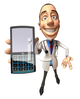 Royalty Free 3d Clipart Image of a Doctor Holding a Cell Phone