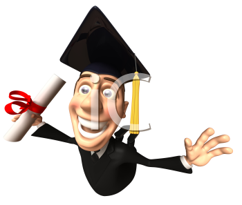 Royalty Free 3d Clipart Image of a Male Graduate Holding a Diploma and Jumping in the Air