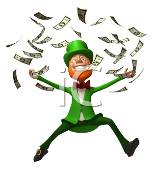 Royalty Free 3d Clipart Image of an Leprechaun Jumping in the Air with Floating Dollar Bills