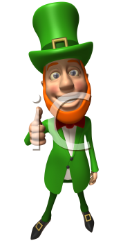 Royalty Free 3d Clipart Image of a Leprechaun Giving a Thumbs Up Sign