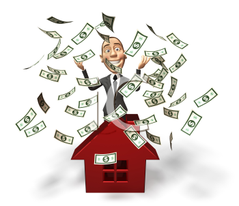 Royalty Free 3d Clipart Image of a Real Estate Agent Standing Behind a Model of a House With Money Raining Down Around Him