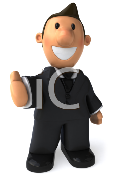 Royalty Free Clipart Image of a Man in a Business Suit With His Hand Out