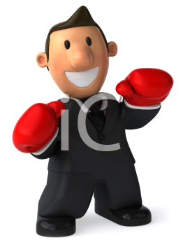 Royalty Free Clipart Image of a Man in Boxing Gloves