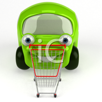 Royalty Free 3d Clipart Image of a Green Car and a Shopping Cart