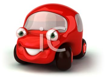 Royalty Free 3d Clipart Image of a Red Car