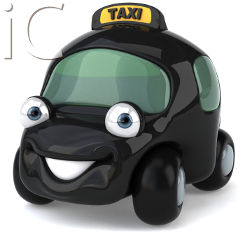 Royalty Free 3d Clipart Image of a Black Taxi