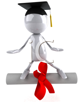 Royalty Free 3d Clipart Image of a Male Graduate Standing on a Diploma