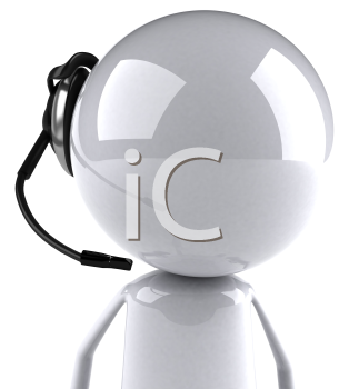 Royalty Free 3d Clipart Image of an Character Wearing a Telephone Headset