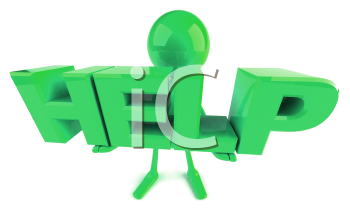 Royalty Free 3d Clipart Image of a Green Guy Holding Large Letters that Spell Help
