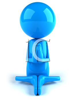 Royalty Free 3d Clipart Image of a Blue Character Meditating