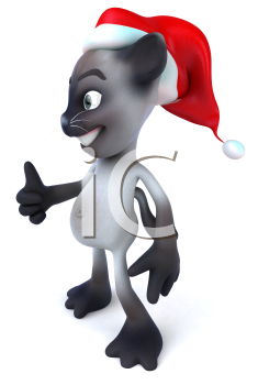 Royalty Free 3d Clipart Image of a Cat Wearing a Christmas Hat and Giving a Thumbs Up Sign