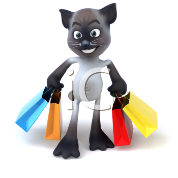 Royalty Free 3d Clipart Image of a Cat Carrying Colorful Shopping Bags