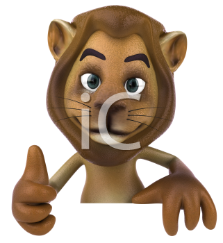 Royalty Free 3d Clipart Image of a Lion Giving a Thumbs Up Sign